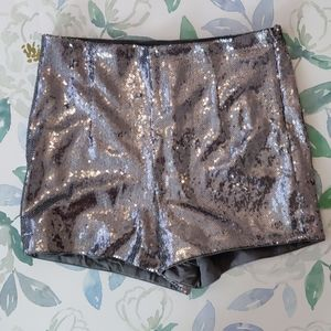 Forever 21 NWT Sequin High Waisted Hot Shorts Sz S